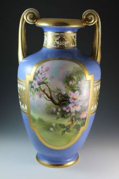"Nippon Large 12 3 4"" Tall Hand Painted Porcelain Cherry Blossom Vase Beautiful 