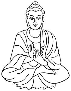 Buddha 2 - Or a very large line drawing of a white wall of buddha and some handwritten inscriptions of zen calm philosophies and quotes.