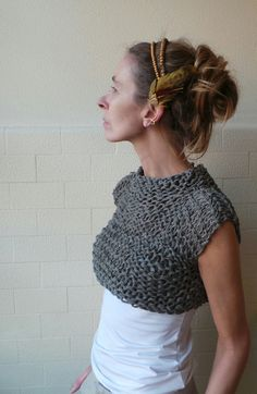 cotton linen and silk cropped tank/vest in a greyish by ileaiye,