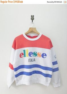 ON SALE 15% Vintage 80's Ellesse Italia Color by RetroFlexClothing