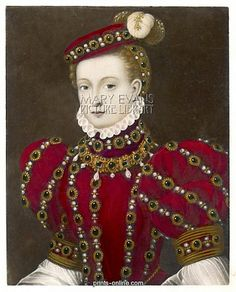 Mary, Queen of Scots in a red costume  Mary, Queen of Scotland, in a striking red costume.
