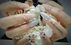 Color carne argento glitter strass rose