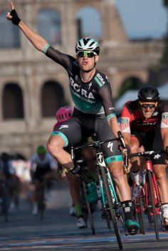 Ireland's Sam Bennett celebrates as he crosses the finish line to win the last stage of the Giro d'Italia cycling race in Rome Sunday May 27 2018 Cyclists, Finish Line, Crosses, Rome, Ireland, Irish, Stage, Photos, It Is Finished