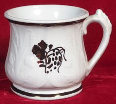 Clementson Prairie Shape Teaberry Tea Leaf Ironstone Large Mug, Reg. 1862 #ClementsonBros
