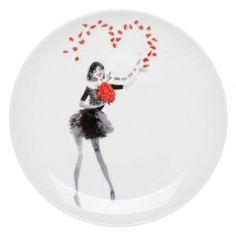 Coffret de 6 assiettes à dessert Parle moi d'Amour - Ce coffret d'assiettes à dessert en porcelaine Parle moi d'Amour apportera une touche romantique à votre repas. Ce coffret…Voir la présentation