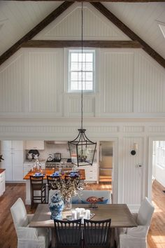Looking for Cottage Living Space and Dining Room ideas? Browse Cottage Living Space and Dining Room images for decor, layout, furniture, and storage inspiration from HGTV. Hgtv, House Design, Family Room, Home, Home Additions, Vaulted Ceiling, Room Inspiration, White Rooms, Great Rooms