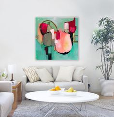 "Original abstract acrylic painting by Sarina Diakos, hot pink, blue, cream, turquoise ""Awakenings #2"""
