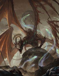 Fantasy Dragon, Fantasy Rpg, Fantasy Artwork, Dark Fantasy, All Mythical Creatures, Fantasy Creatures, Death God, Mythical Dragons, Legendary Dragons