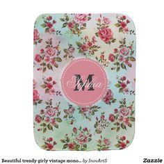 Beautiful trendy girly vintage monogram  roses baby burp cloth