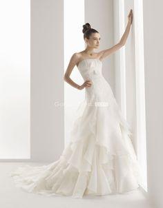 strapless applique cascading Ruffles Draping wedding dress - gopromdres.com