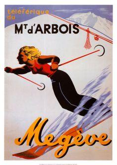 PEIRA CAVA FRANCE WINTER SPORT SKI WOMEN DOWNHILL SKIING VINTAGE POSTER REPRO