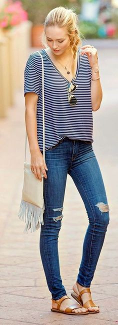45 ripped jeans outfit ideas every stylish girl should try #fashion http://ncnskincare.com/