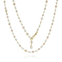 18ct Gold Seed Pearl Long Chain White Pearl Necklace, Pearl Chain, Pearl Bracelet, Pearl Jewelry, Pearl White, Diamond Jewelry, Gold Necklace, Pearl Necklaces, Jewelry Necklaces