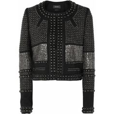 Isabel Marant Jayna studded wool-twill jacket ($690) ❤ liked on Polyvore featuring outerwear, jackets, black, wool jacket, isabel marant, studded jacket, woolen jacket and twill jacket