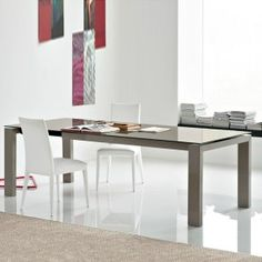 Sigma glass 180 extending dining table by Calligaris  Various textures / sizes etc