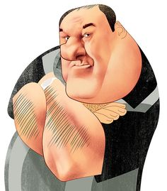 James Gandolfini by Andre Carrilho Caricature Artist, Caricature Drawing, Funny Caricatures, Celebrity Caricatures, Cartoon Faces, Funny Faces, Cartoon Characters, Funny Illustration, Portraits