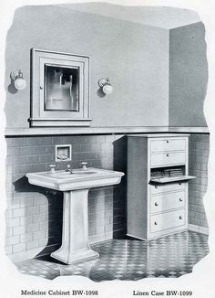 """Bilt-Well Built-in Linen and Bathroom Cabinetry ~ Medicine cabinet BW-1098 is built to fit in a standard stud wall and is a necessity in every home. Linen case BW-1099 is 2'-4"""" wide, 4'-0"""" high and 1'-2"""" deep. The three upper openings are furnished with hinged front, and those below are sliding drawers."""