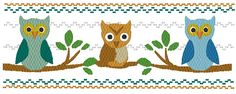 The Owl Family - Machine Smocking by Elizabeth's Embroideries  http://www.elizabethsembroideries.com