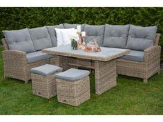 Modulsofa med høyt bord med polywood, natur