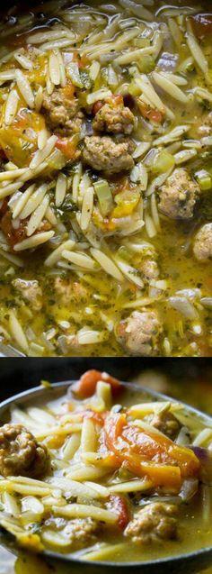 italian sausage tomato orzo soup