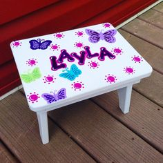 Hand-painted Wooden Toddler Step Stool, Nursery Decor, Children's Decor, Wood…