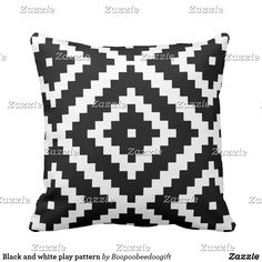 Black and white play pattern @zazzle #zazzle #throwpillows #pillows #homedecor #collegapartment #sophomoreyear #couch #bedroom #room #buy #shop #shopping #sale #decor #Interiordesign #interior #design #gift #gifts #housewarming #relax #loung #comfy #comfort #comfortable #black #white #geometric #geometricpattern #pattern #patterns #chic #Modern