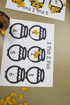Goldfish Counting Activity- Great for Pre-K students. This activity allows for children to begin counting in a fun way. Children can also eat the goldfish after the activity is performed correctly.