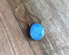 Blue Opal Necklace - Gold Opal Necklace - Opal Necklace - Opal - Opal Jewelry - Opal Pendant Necklace - Valentine's Day Gift