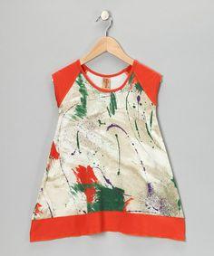 Take a look at this Makena Orange & Green Splash Dress - Toddler & Girls by Makena Surf Wear on #zulily today!