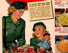 vintage mother daughter grocery shopping 1946 by FrenchFrouFrou,