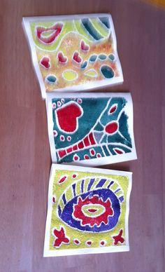 Håndmalet kort med lim og strø sand