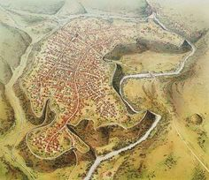 Old map of how vulci etruscan city eould have been700 bc maremma