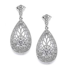 Art Deco Etched Cubic Zirconia Wedding Earrings