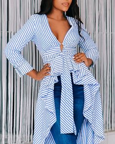 Striped Tied Front Dip Hem Shirt - Just Shop Ruffles, Tops Online Shopping, Womens Fashion Online, Pattern Fashion, Sleeve Styles, Shirt Blouses, Blouses For Women, Sexy Outfits, Women's Clothing