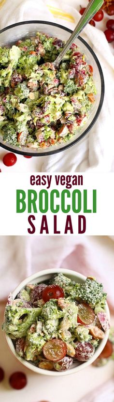 The best vegan and gluten-free broccoli salad.sweet, creamy, tangy, crunchy--perfect for potlucks and cookouts! The Best Vegan Broccoli Salad Ever - Hummusapien The Korean Vegan thekoreanvegan Entrees The best vegan and gluten-free broccoli salad Raw Vegan Recipes, Vegan Foods, Vegan Dishes, Vegetarian Recipes, Healthy Recipes, Vegan Vegetarian, Free Recipes, Vegan Ideas, Vegan Raw