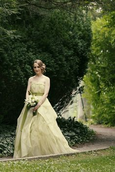 Citrus Green Vera Wang Wedding Dress