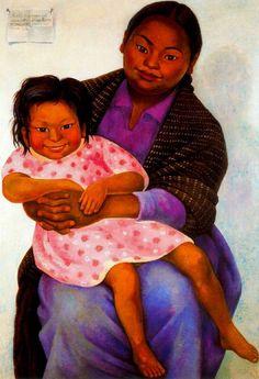Diego Rivera -  Retrato de Madesta  e Inesita, 1939