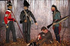 left- Sergeant- 89th Regiment of Foot soldat- Les Voltigeurs Canadiens Private- U.S. 14th Regiment of Infantry right- Mohawk Warrior