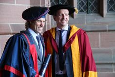Honorary Fellow John Bishop with Professor Greg Whyte. 2014 graduations - Friday 18 July, morning