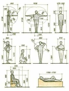 The human form in design - ergonomics Autocad, Architecture Details, Interior Architecture, Sketch Architecture, Architecture Symbols, Human Dimension, Design Textile, Design Reference, Pose Reference