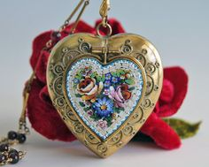 Heart Locket, Antique Locket with Micro Mosaic Roses & Forget Me Nots, Victorian Gilt Gold Locket Necklace on Long Chain
