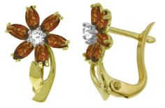 14k Solid Gold Garnet Flower French Clip Earrings with Diamond accents $261.73