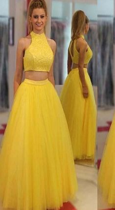 Two Piece Yellow Prom Dress Cheap Long Prom #prom #promdress #dress #eveningdress #evening #fashion #love #shopping #art #dress #women #mermaid #SEXY #SexyGirl #PromDresses