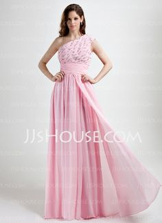 Holiday Dresses - $146.99 - A-Line/Princess One-Shoulder Floor-Length Chiffon Holiday Dress With Ruffle Beading (020015785) http://jjshouse.com/A-Line-Princess-One-Shoulder-Floor-Length-Chiffon-Holiday-Dress-With-Ruffle-Beading-020015785-g15785