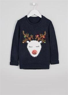 Girls Light Up Reindeer Christmas Jumper (3-13yrs)