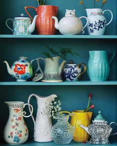 """Sip + see / if you have treasured teapots and pitchers at home, let them see the light of day! We love to arrange them on open shelves like an ever-…"""