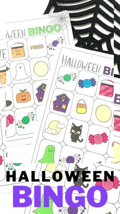 """Printable Halloween Bingo game with """"not-so-spooky"""" images for more impressionable kids and younger age groups"""