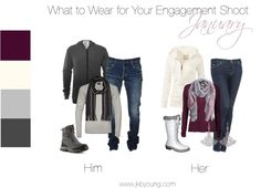 For January engagement shoot, its important to keep warm as well as being stylish! Purples, creams, and silvers are season appropriate and look great together. Be sure to wear boots, coats and scarves to stay toasty. Winter Engagement Pictures, Engagement Photo Outfits, Winter Pictures, Engagement Couple, Engagement Shoots, Family Pictures, Baby Pictures, Picture Outfits, Couple Outfits