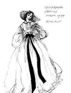 Adrian Costume Sketch for Camille