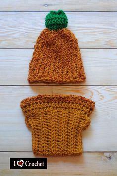 a83d84b95e7 Pumpkin hat  amp  diaper cover crocheted photo props for fall Pumpkin Hat